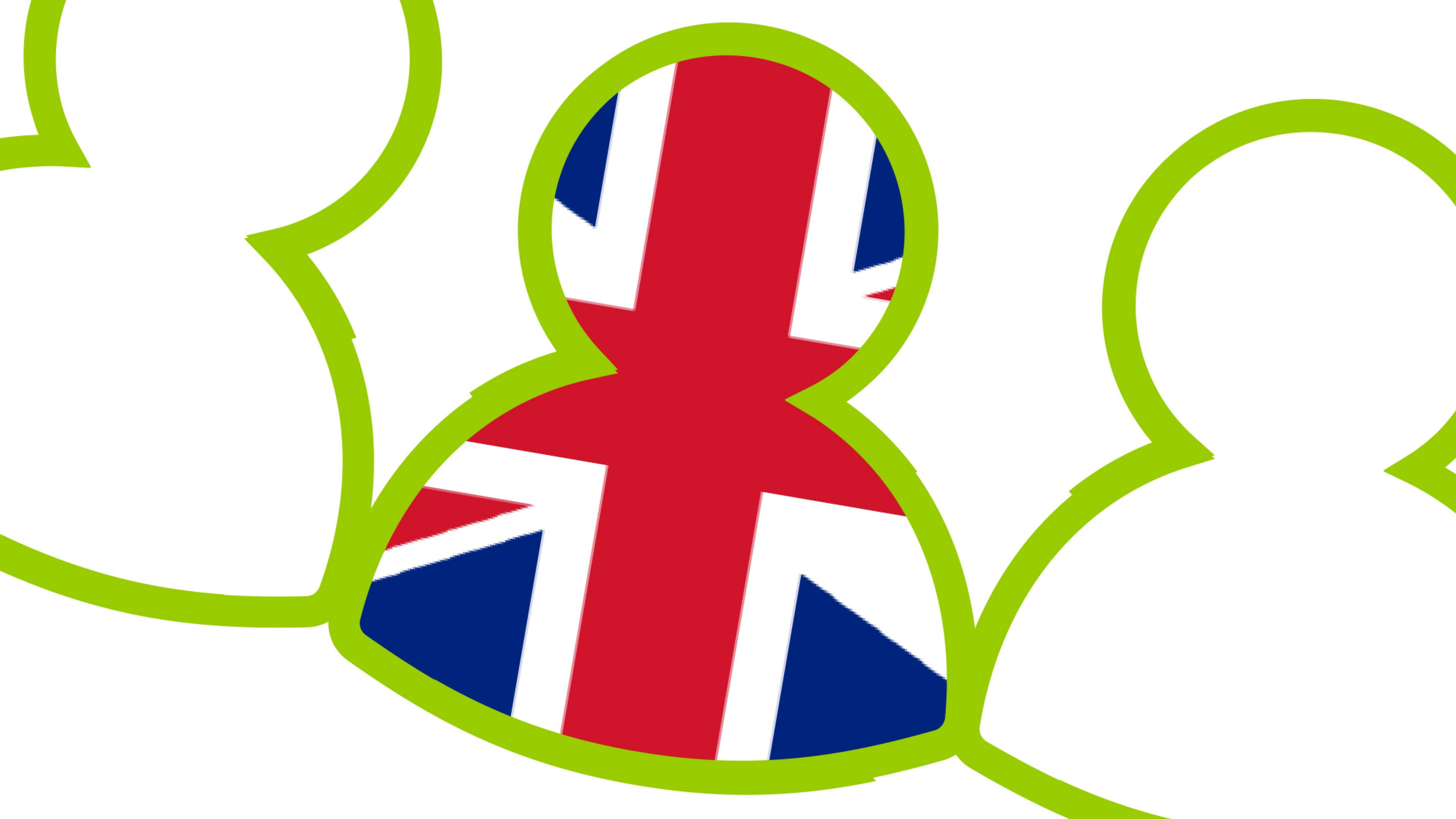Person icon with the English flag inside - myinvoice English