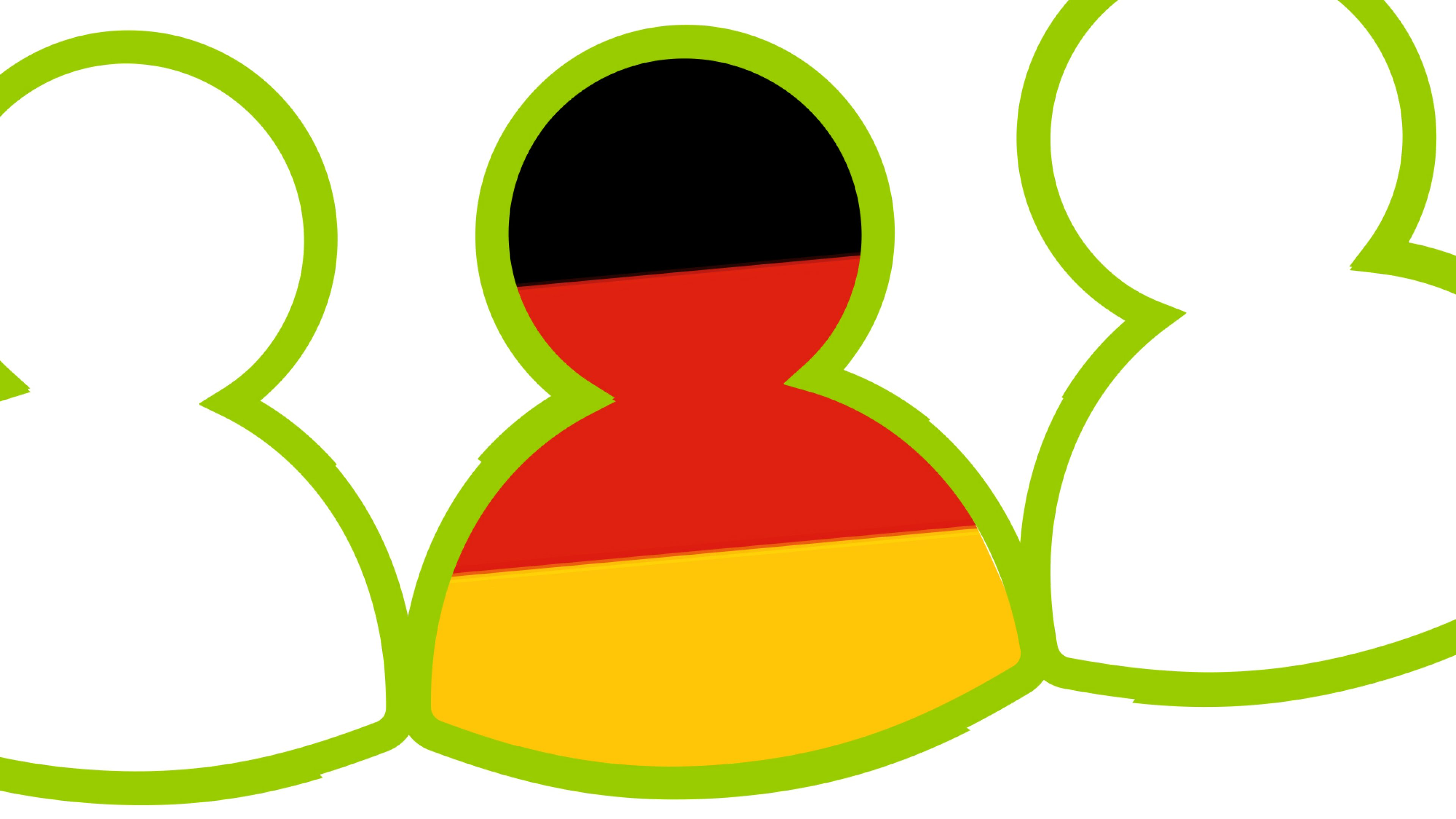 Person icon with the German flag inside - myinvoice Deutsch