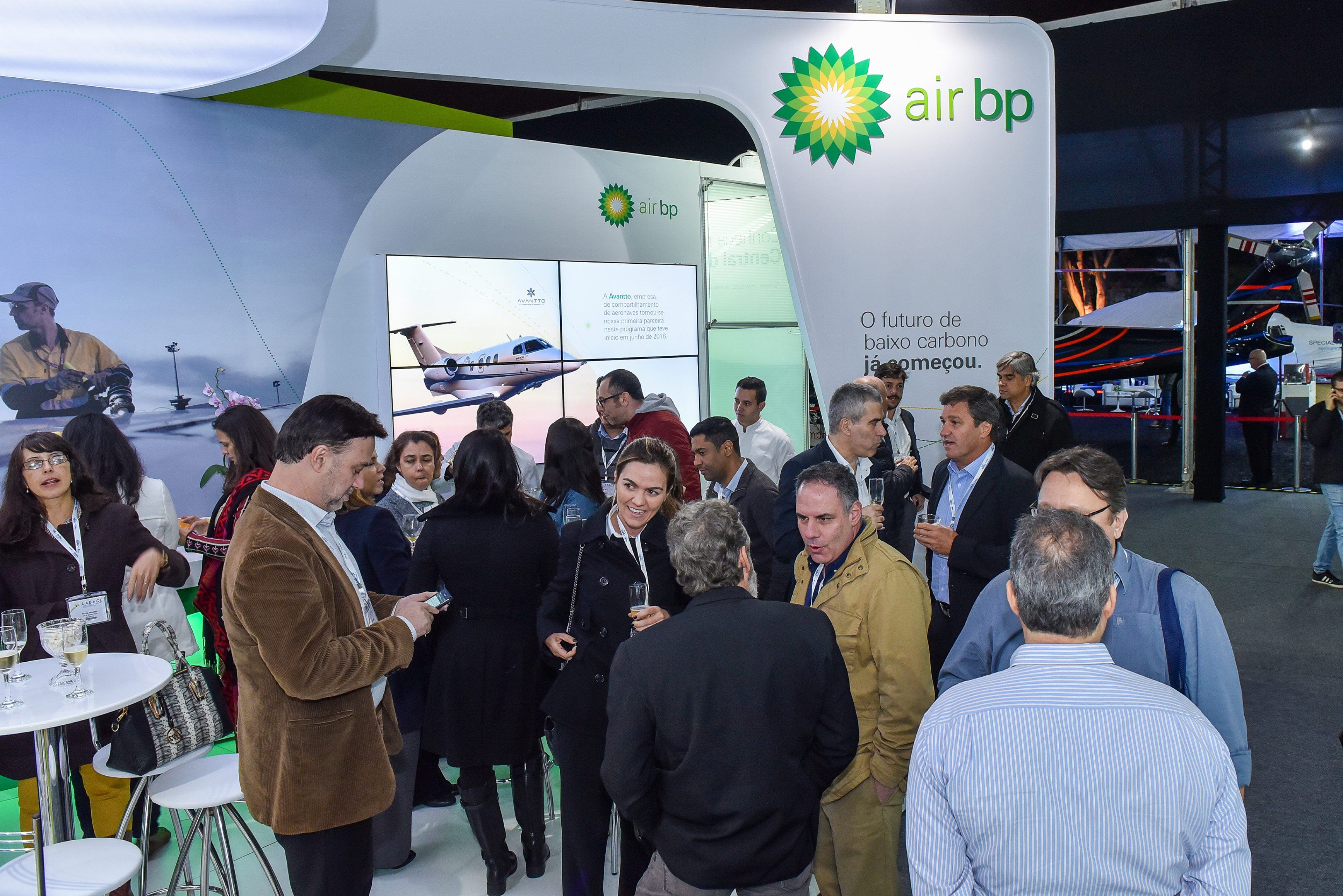 People standing at the Air BP LABACE exhibition stand