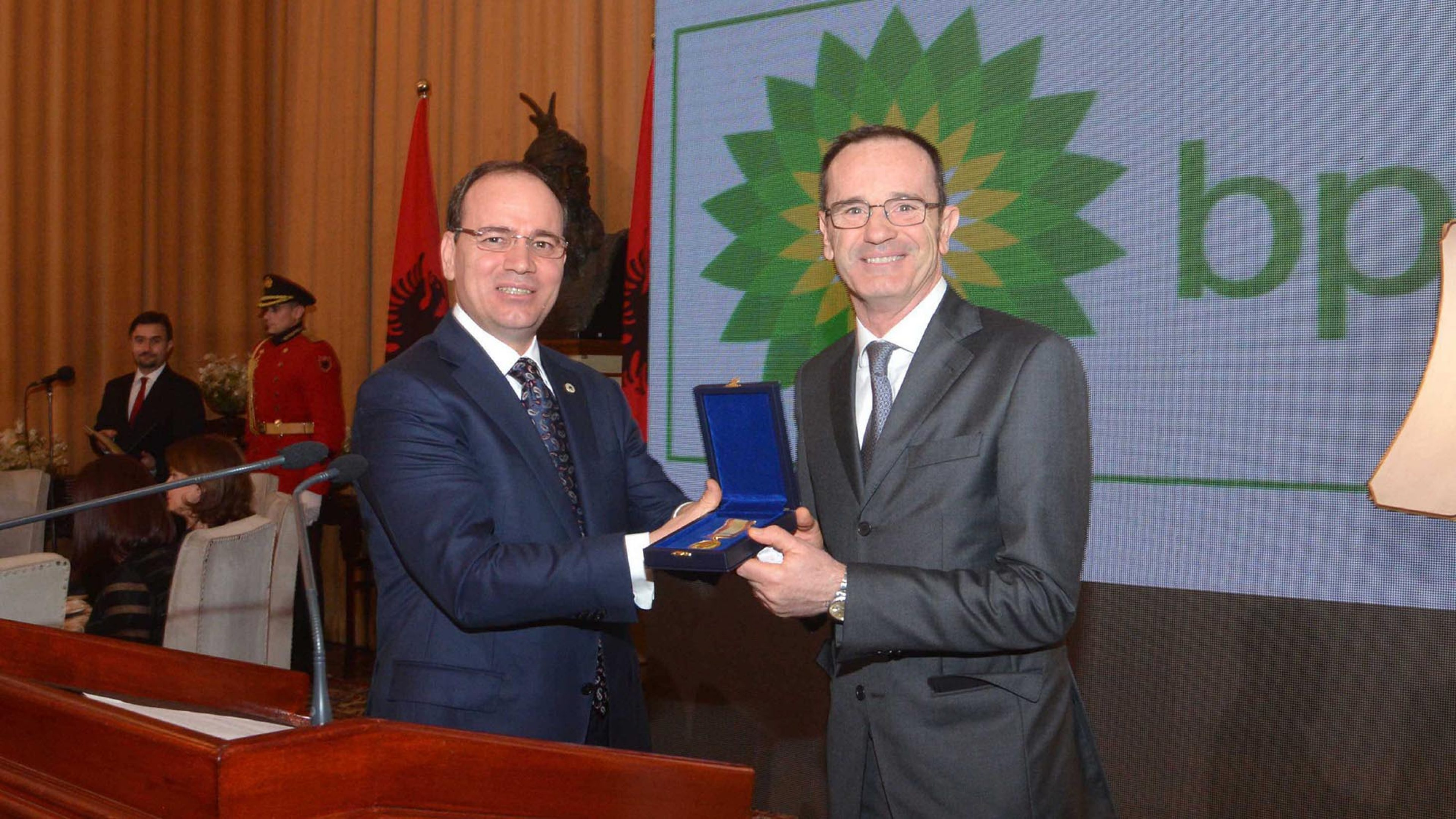 L-R, Fabio Amatucci, Air BP Central Mediterranean Cluster Manager accepts the Award from Mr. Bujar Nishani, President of the Republic of Albania