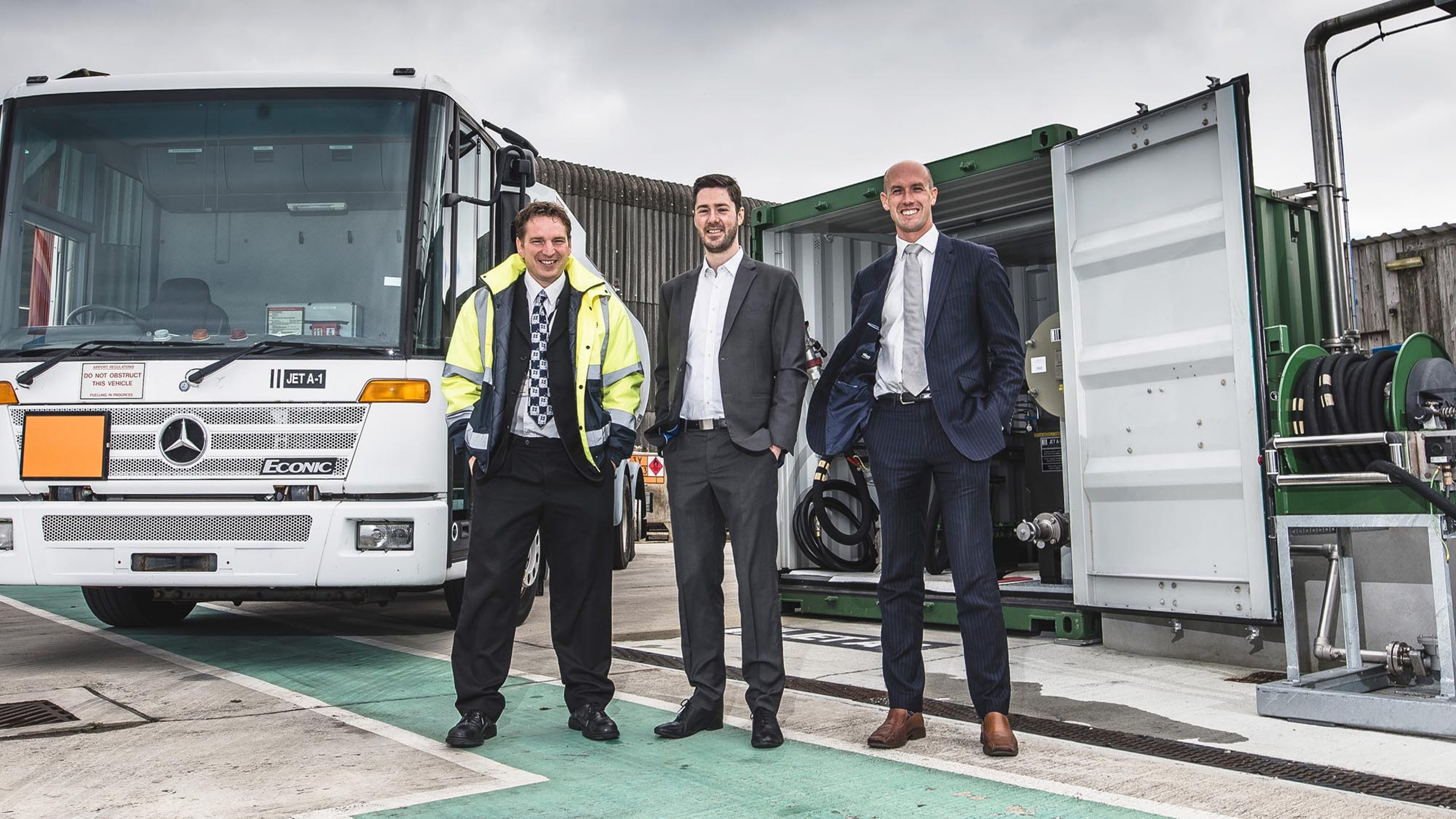 (L-R) Chris Pearson, airport manager and senior air traffic controller; Russell Halley general aviation account manager, Air BP and Stuart Reid chief financial officer, Isles of Scilly Steamship Group