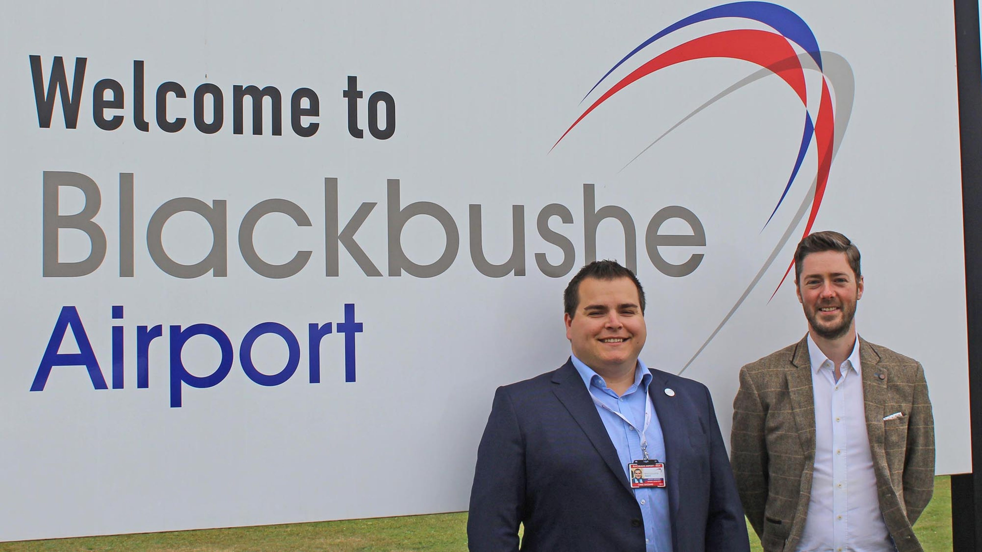 L-R: Chris Gazzard, Blackbushe Airport manager and Russell Halley, regional sales manager general aviation Air BP