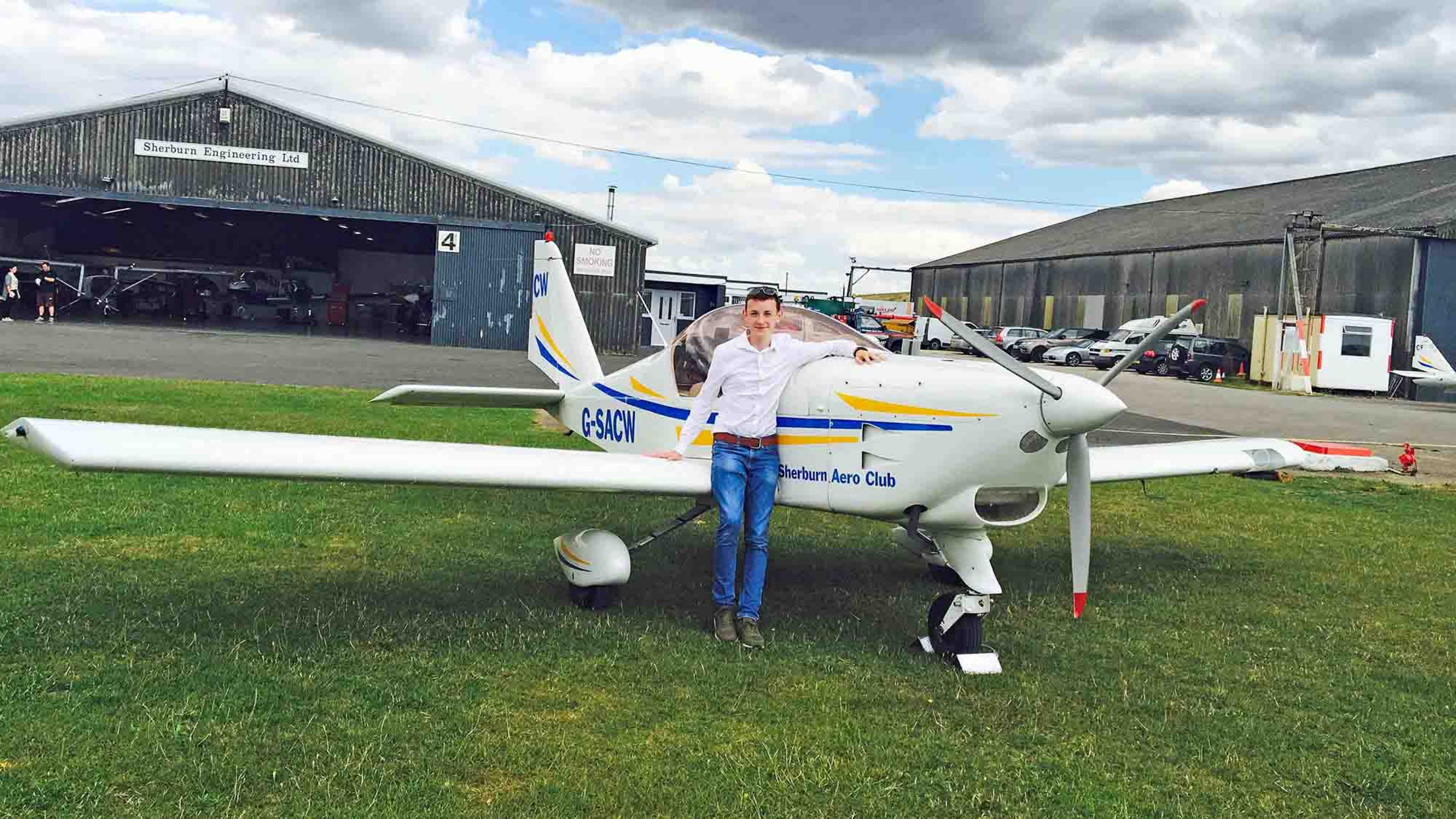 17-year-old Republic of Ireland student, Stephen Daly, preparing for flight at Sherburn Aero Club (credit to Sherburn Aero Club)