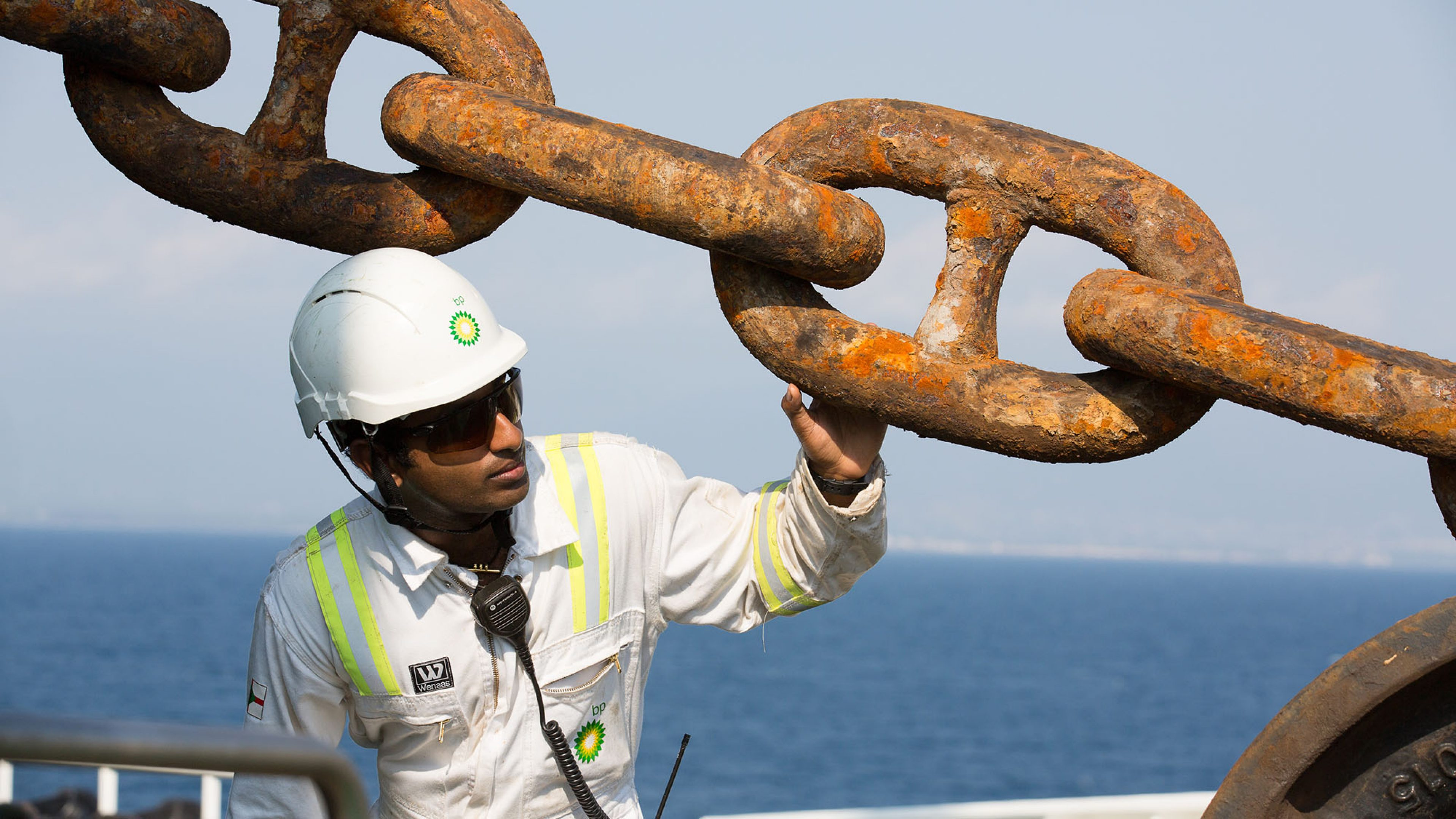 A crew member undertakes an anchor chain inspection onboard the BP British Kestrel Ship at Ceyhan Terminal, Turkey.