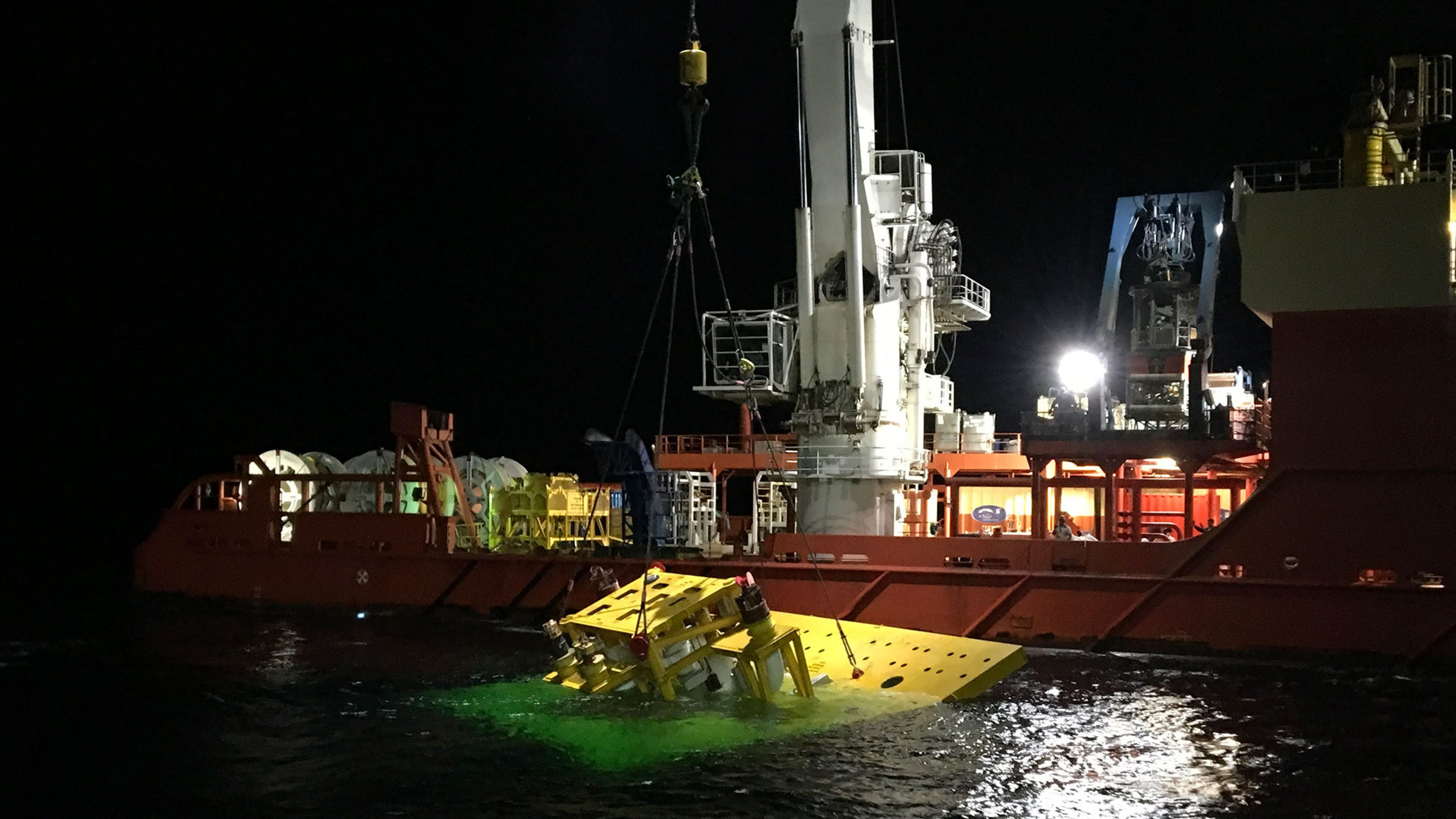 Subsea manifold being lowered to the north Thunder Horse field in 6000 feet of water.
