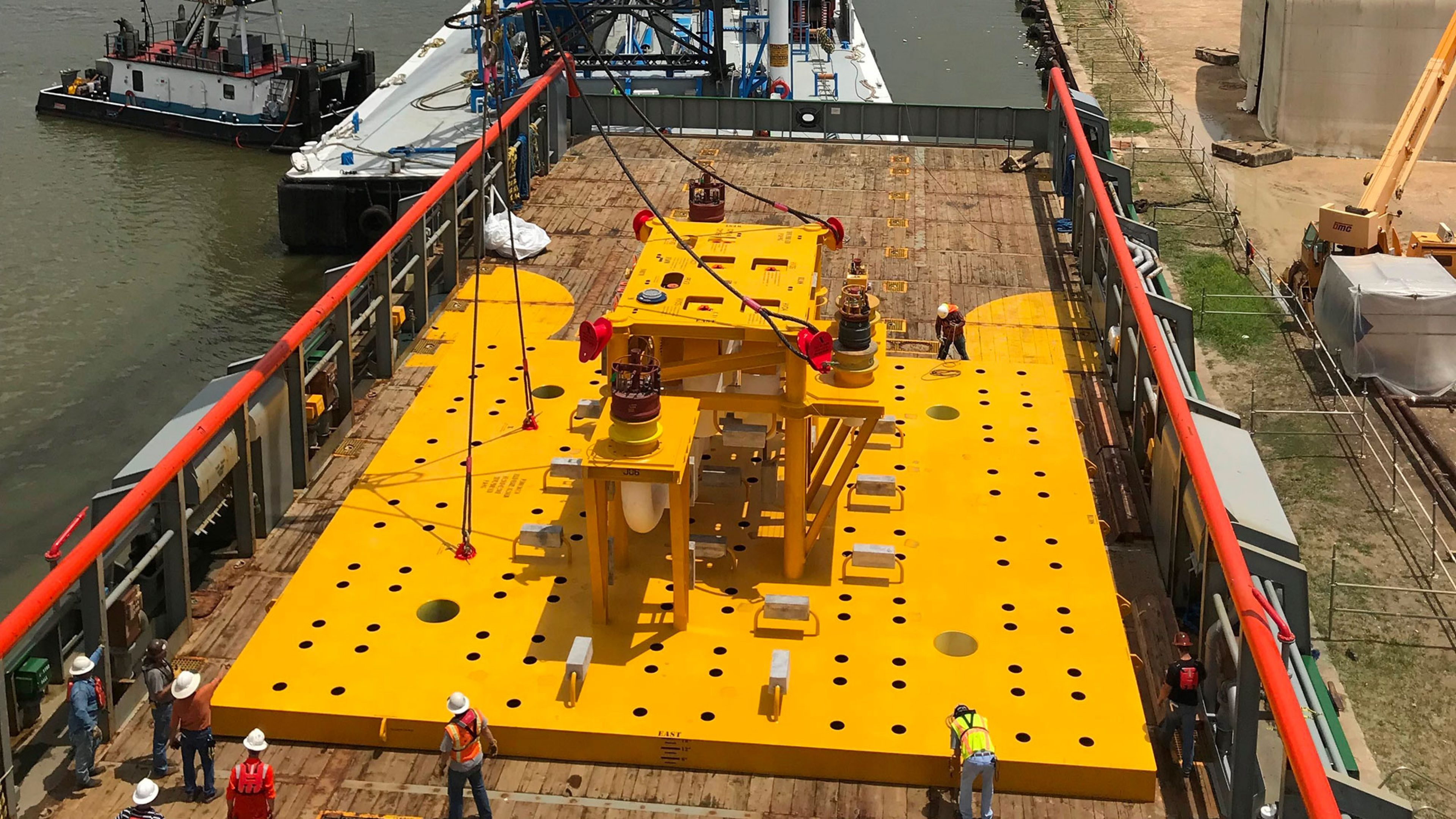 THNWX subsea manifold being loaded onto offshore supply vessel at the Houston Ship Channel.