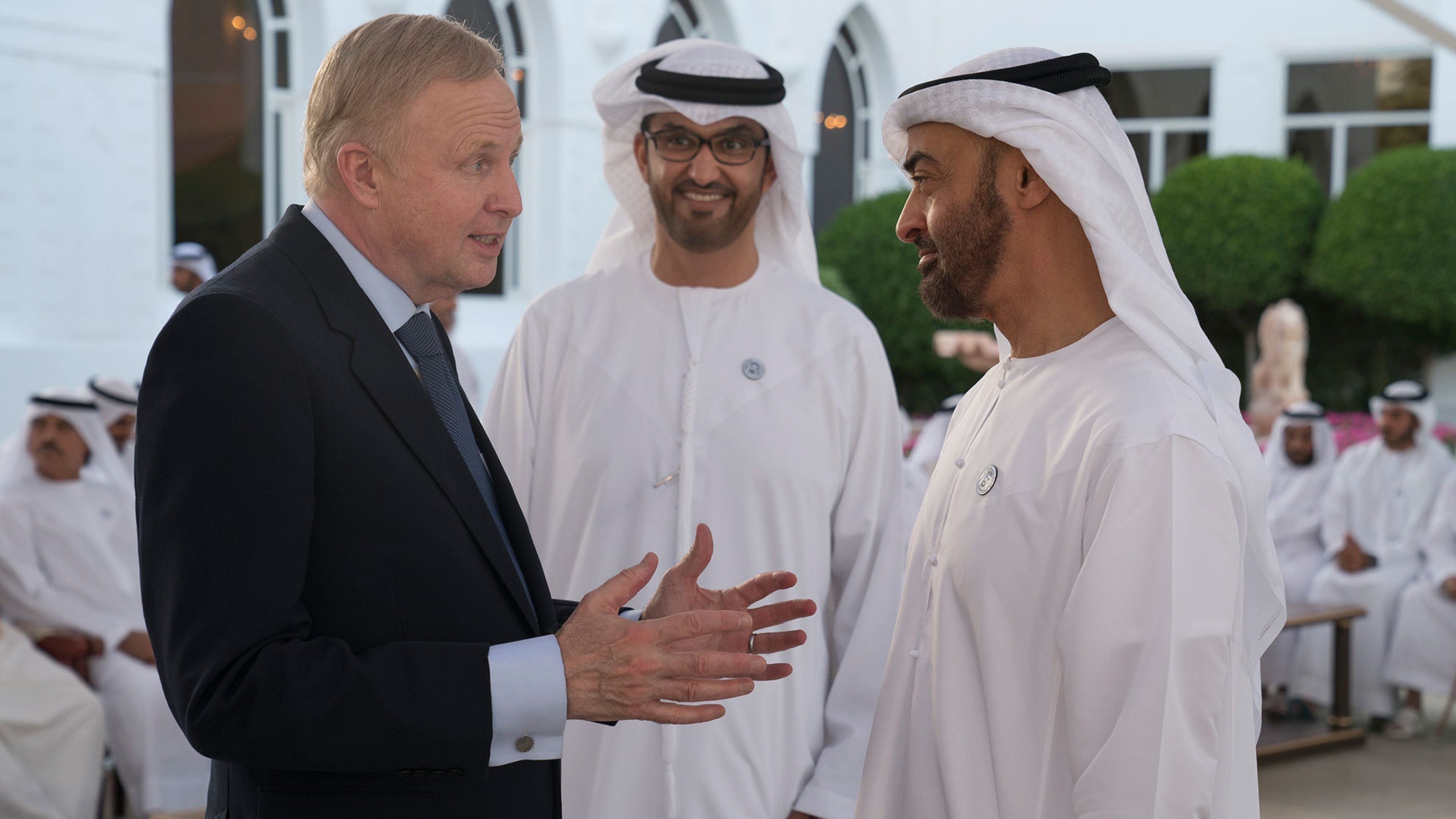 Dudley met with ADNOC CEO Dr Sultan Ahmed Al Jaber (middle) and His Highness Sheikh Mohammed bin Zayed bin Sultan Al-Nahyan, Crown Prince of Abu Dhabi (right)
