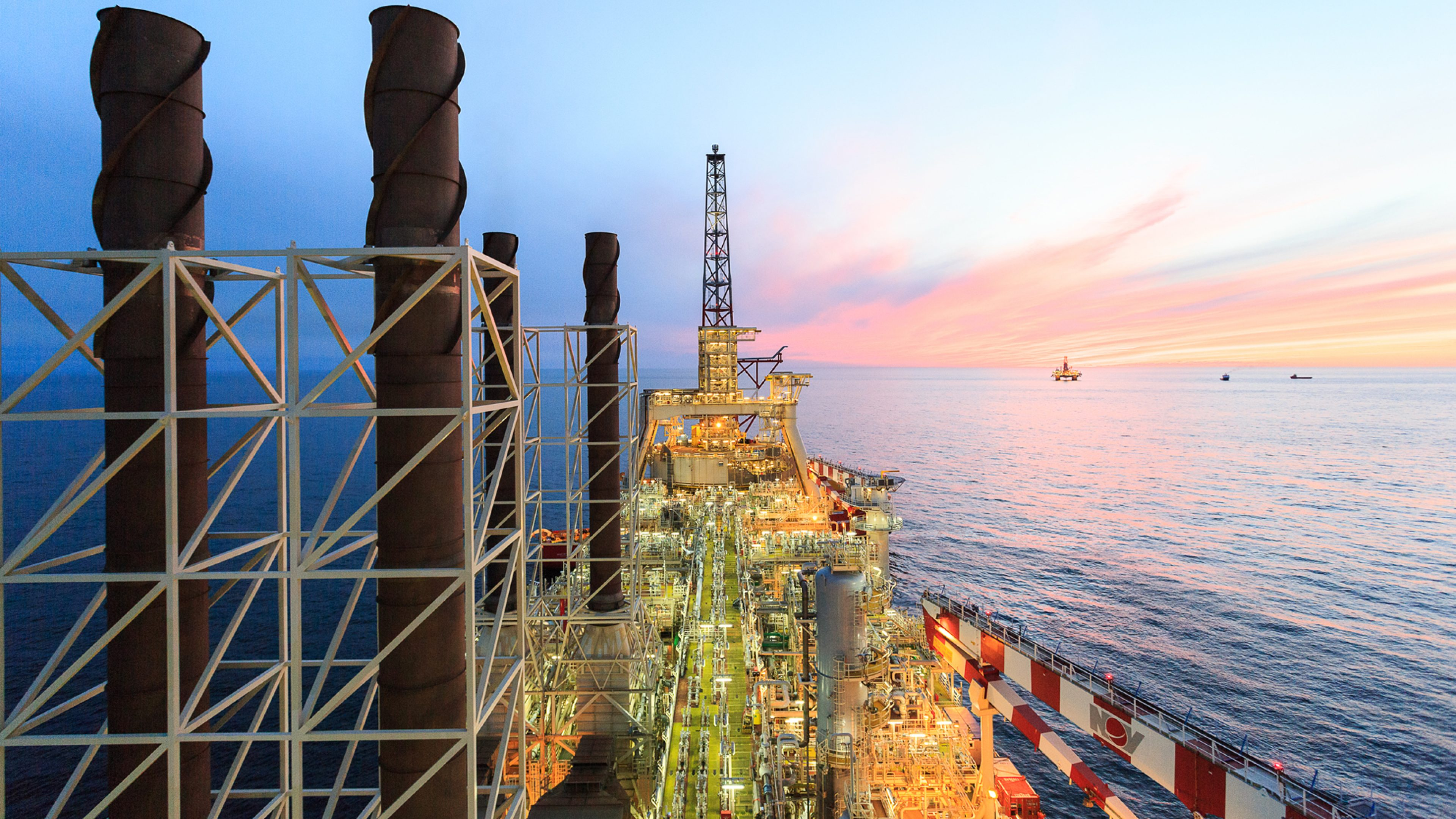 View across the Glen Lyon FPSO in the UK North Sea at dusk