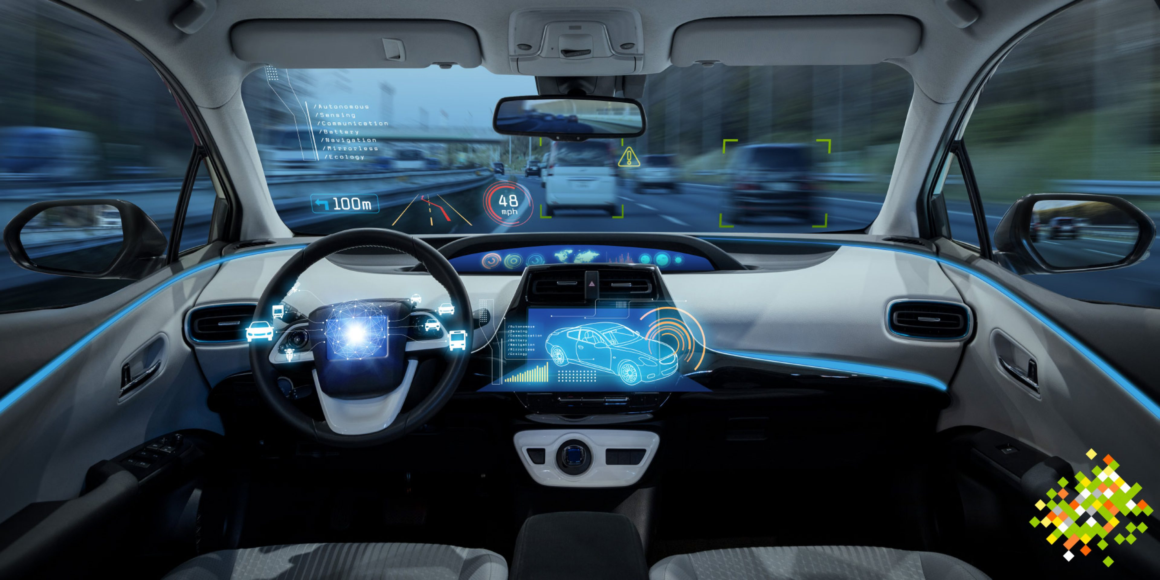 Inside a vehicle with autonomous driving technology