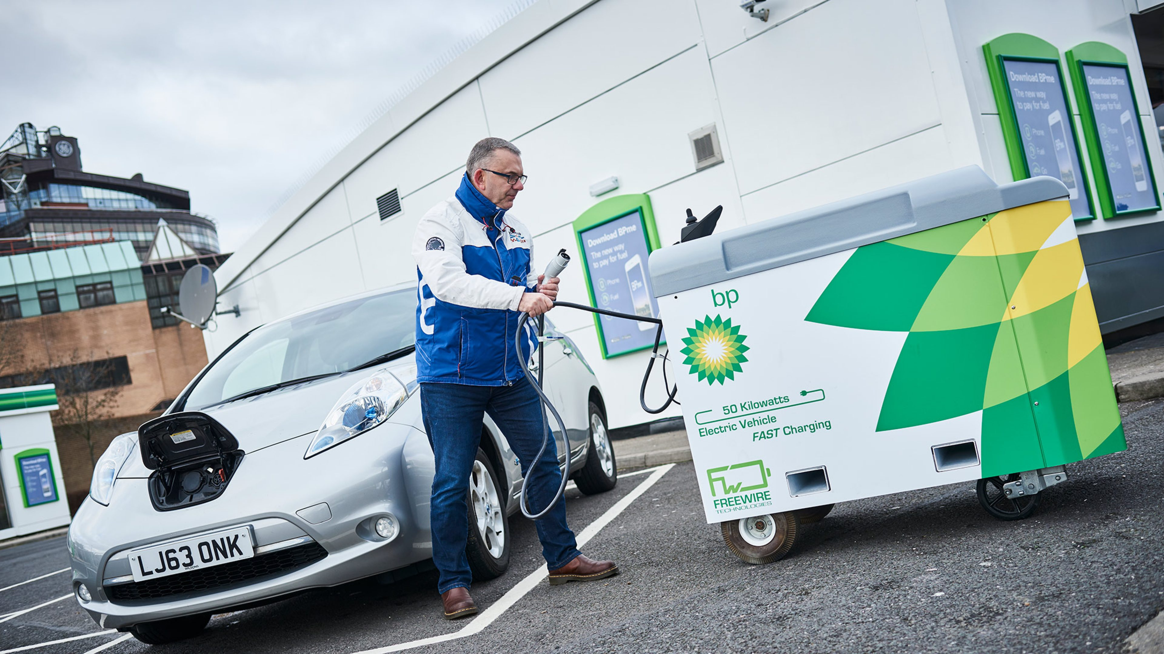 FreeWire mobile electric vehicle charging on a BP forecourt in London, UK