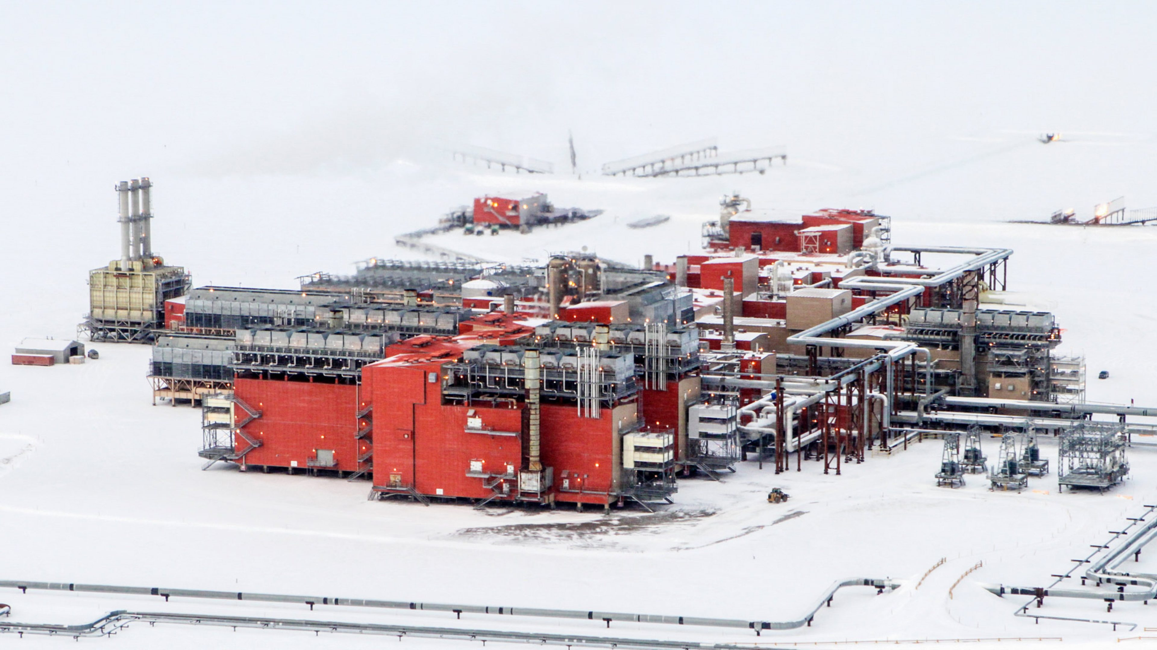 North Slope operations in the snow during an Alaskan winter