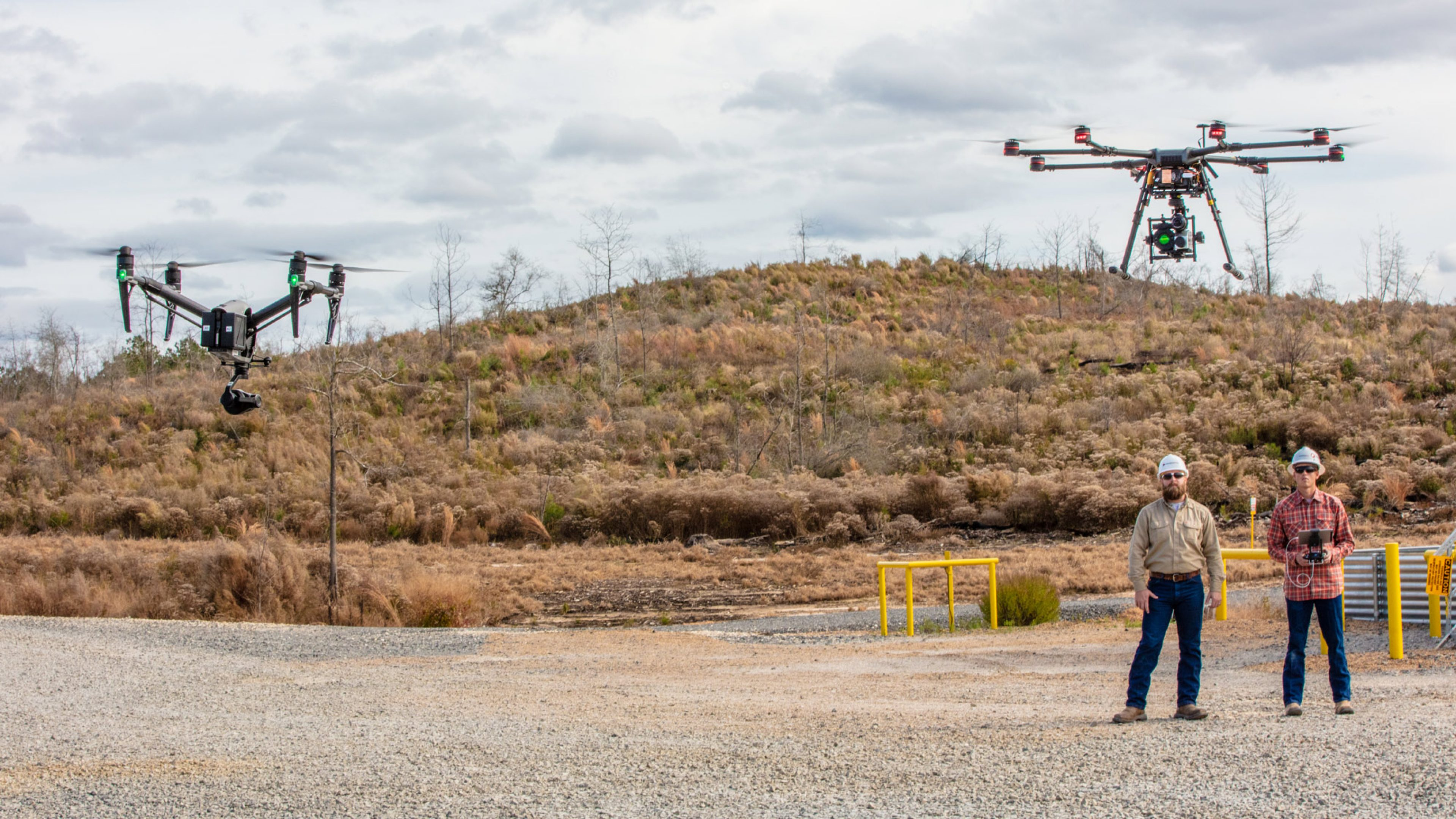 Drones are used to inspect at a BPX Energy site in East Texas, US