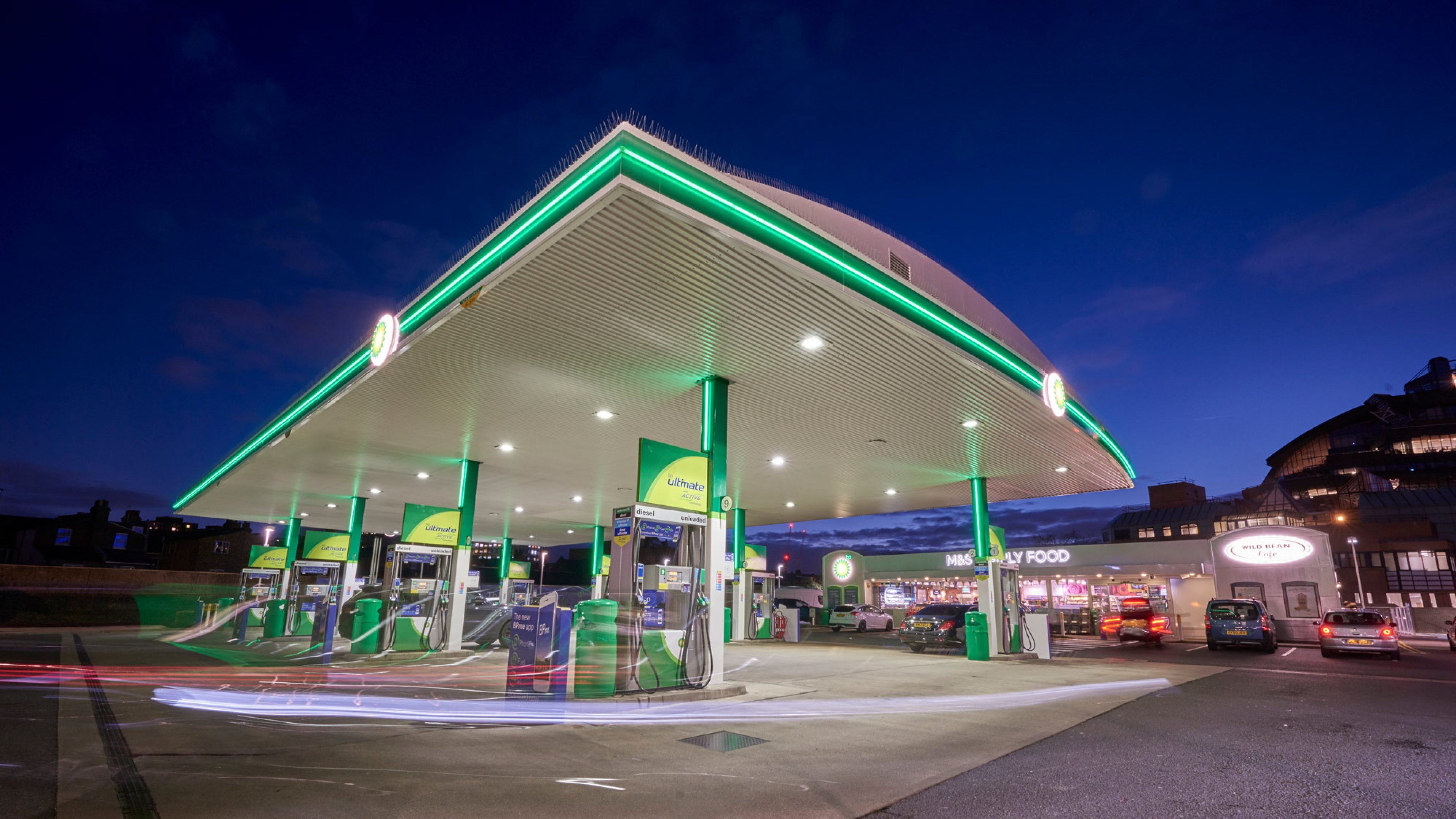 A BP service station in London, following its refresh