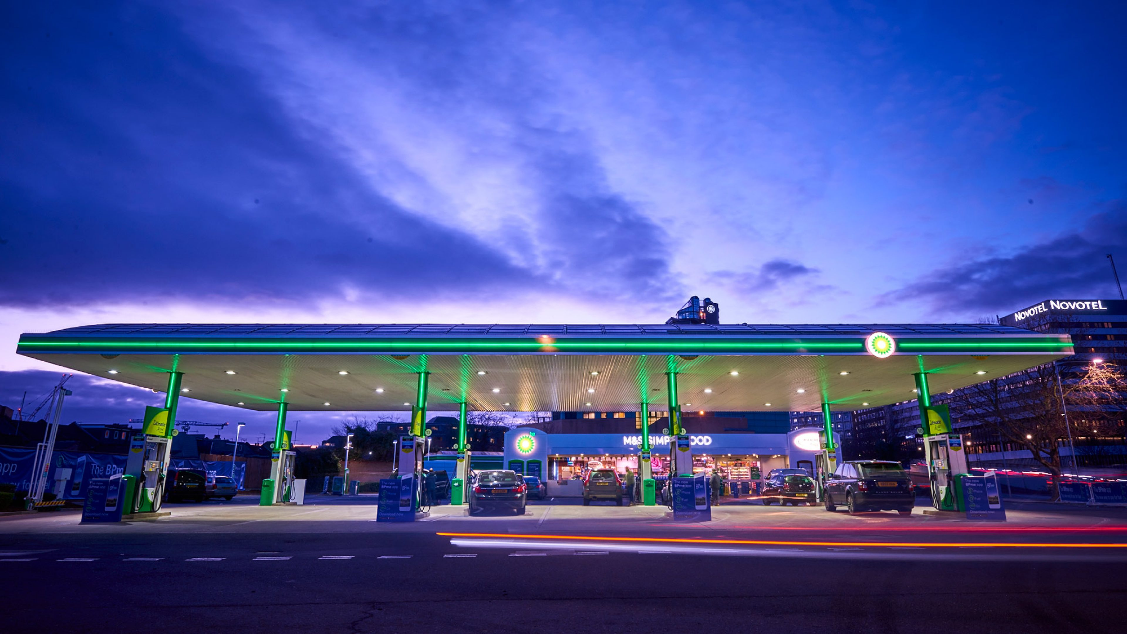BP retail service station in London at dusk