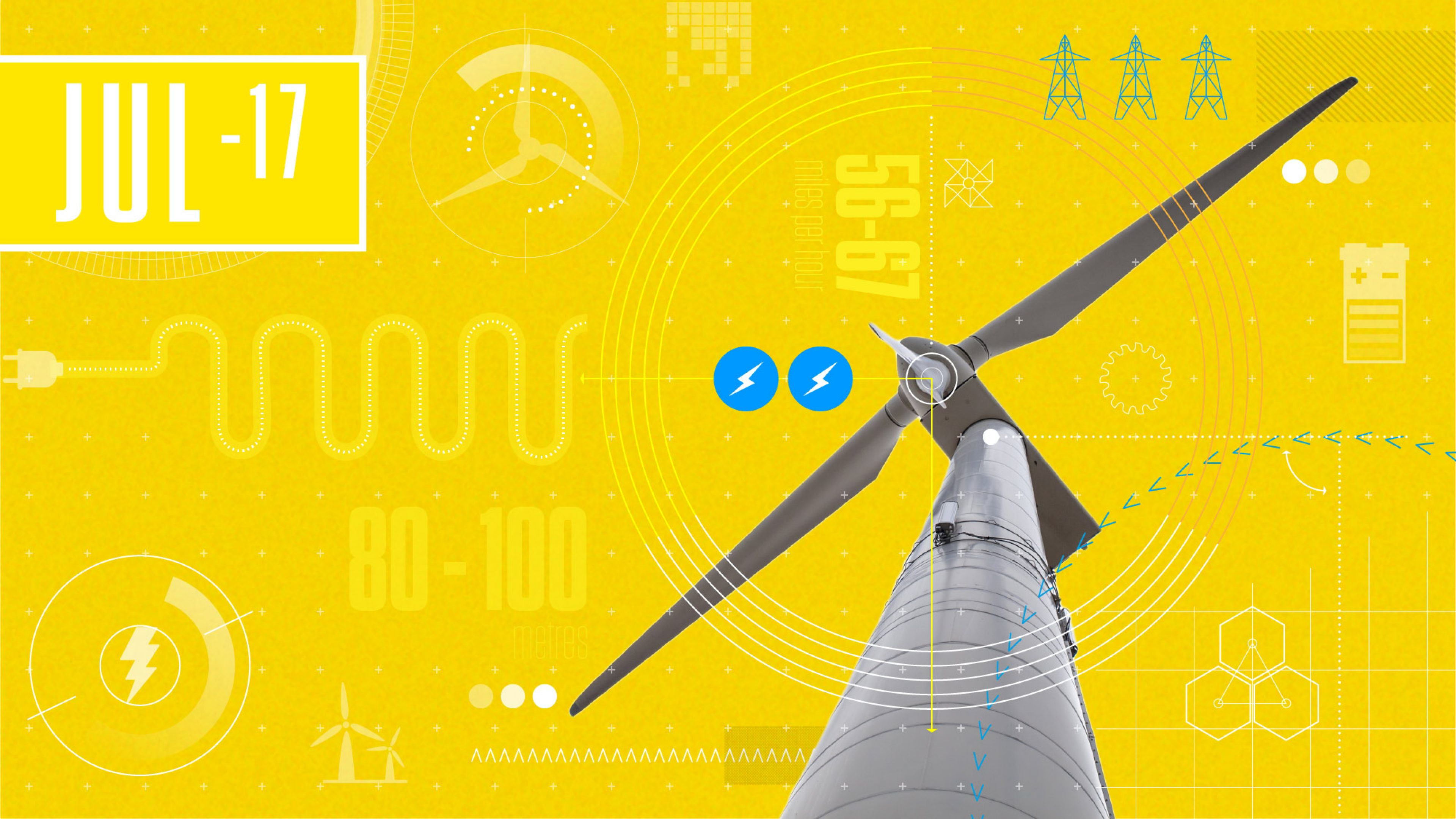 Graphic depicts wind turbine technology