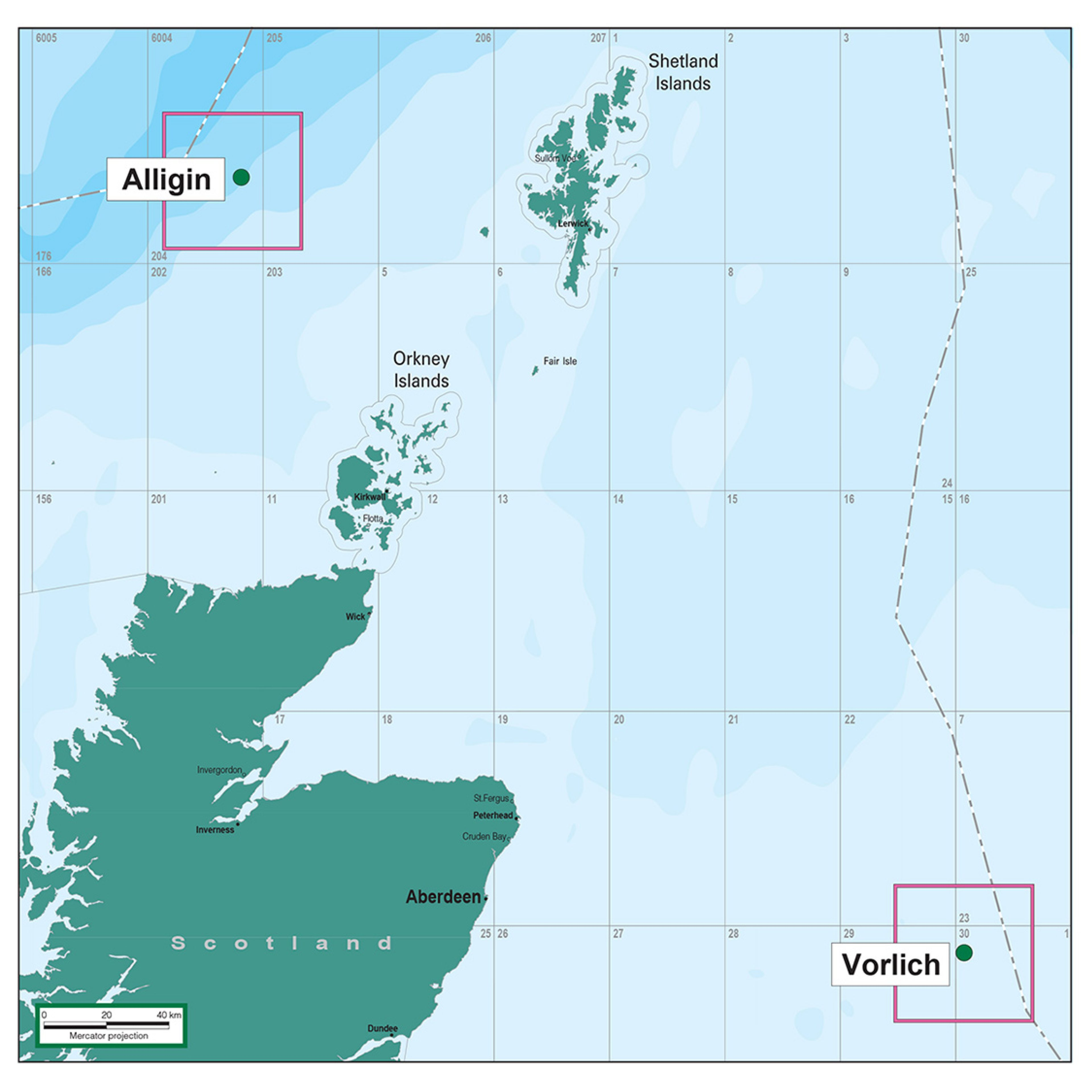 Map of the Alligin and Vorlich fields in the North Sea
