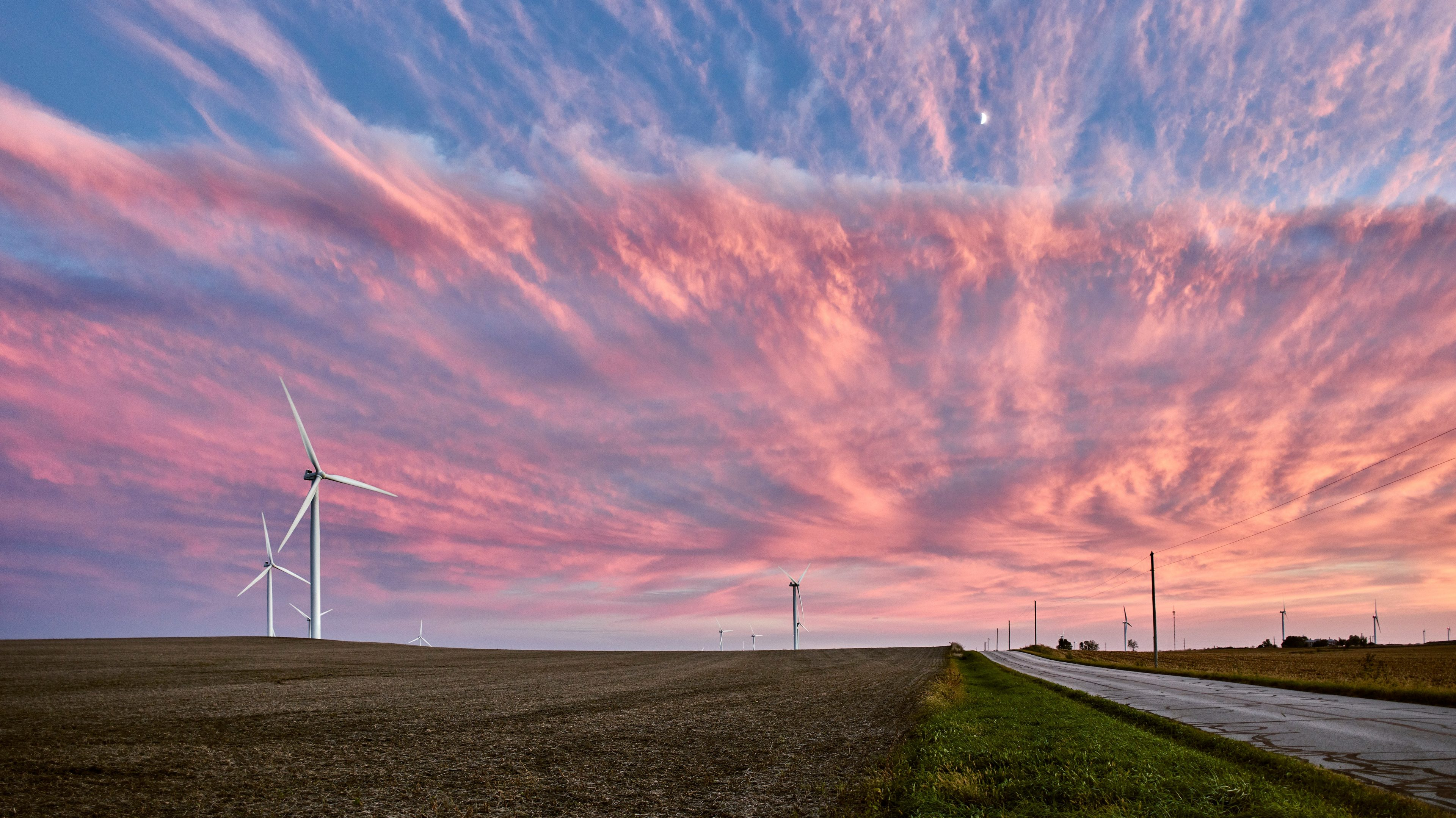 Sunrise, with wind turbines