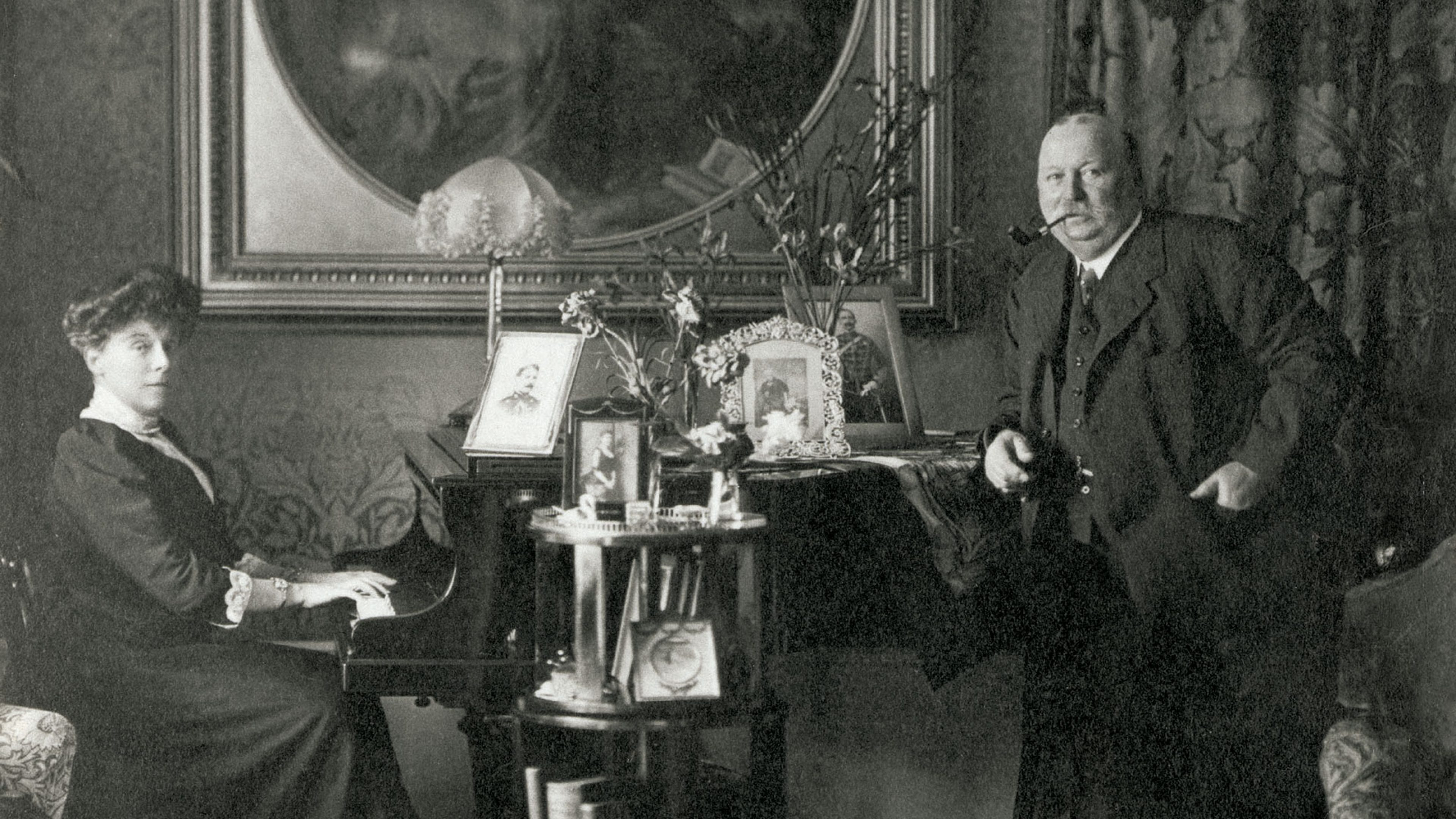 William Knox D'Arcy, the founder of BP, with his wife in their Edwardian English home. D'Arcy entered the oil industry in 1901 by obtaining an...
