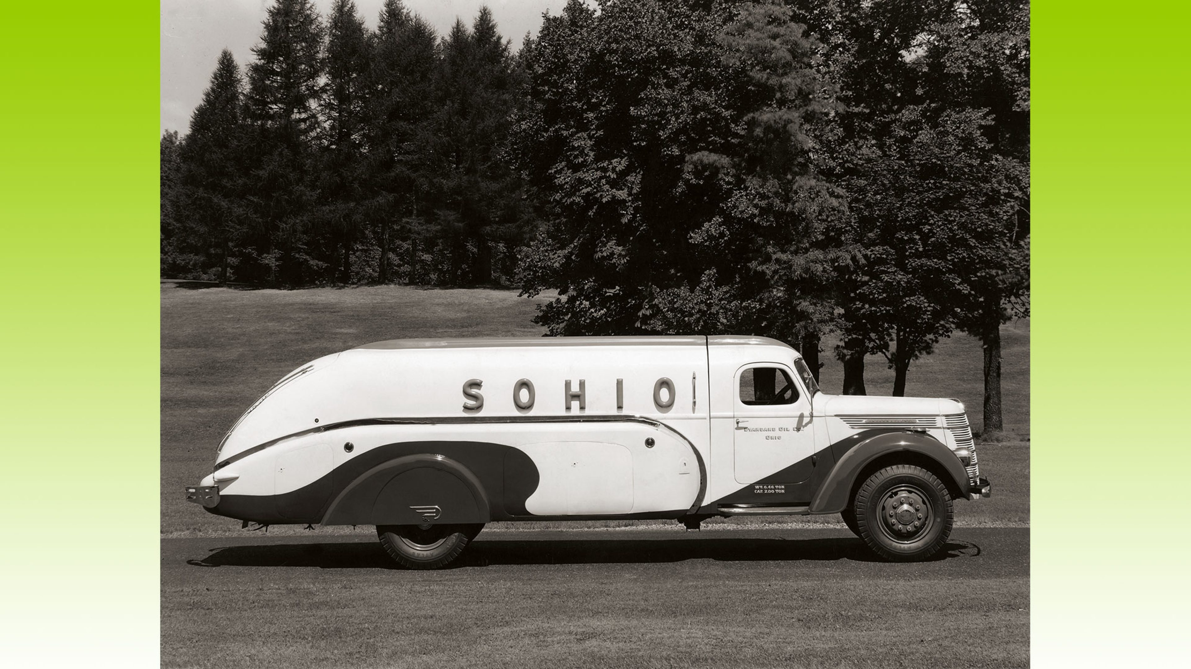 A uniquely-shaped Sohio-branded vehicle. Motorised delivery vehicles took over the transportation of oil products from horse-drawn wagons in the early 20th C