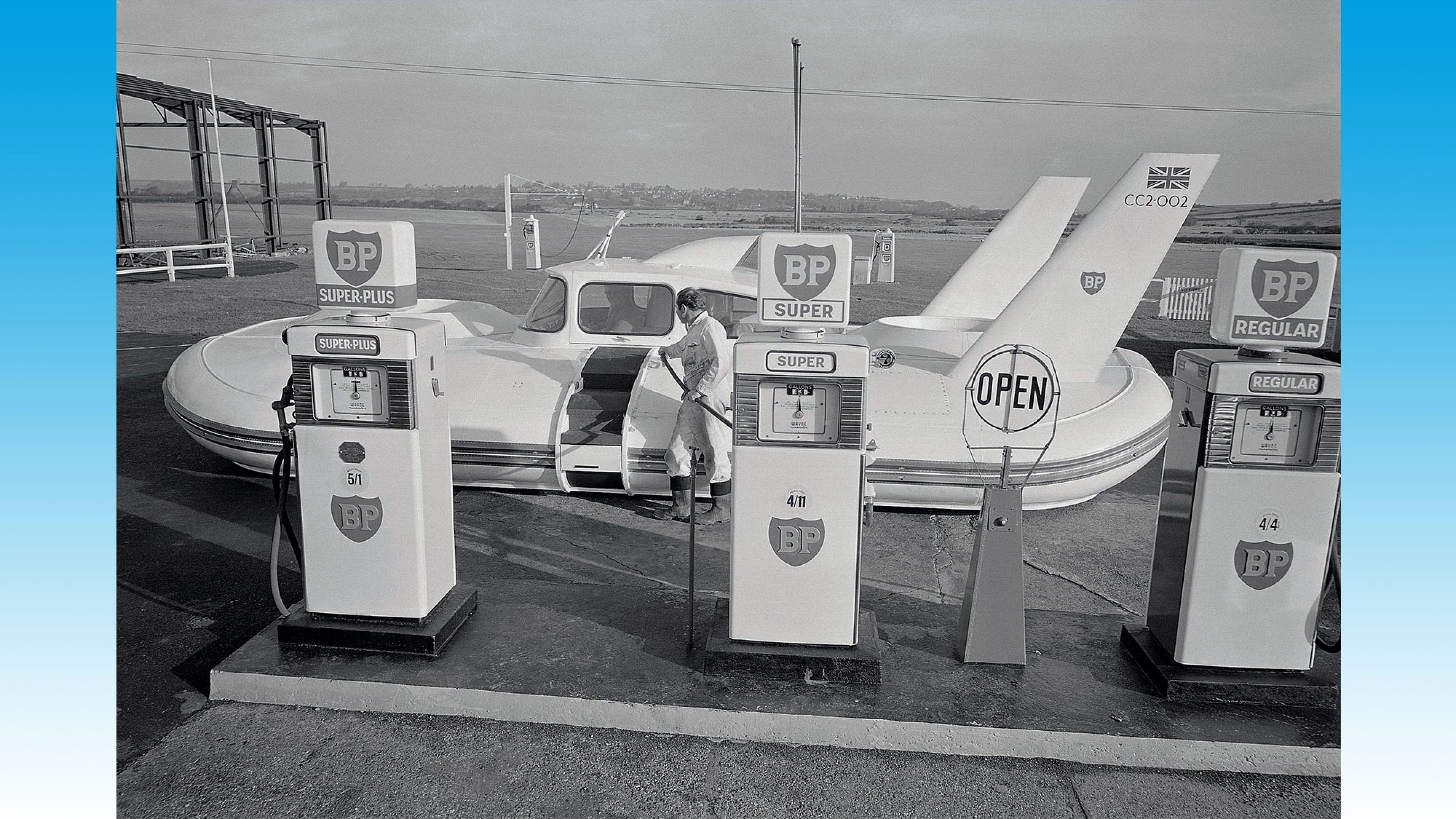 Refuelling the amphibious Britten-Norman Cushioncraft at a BP service station at Bembridge, Isle of Wight, 1963