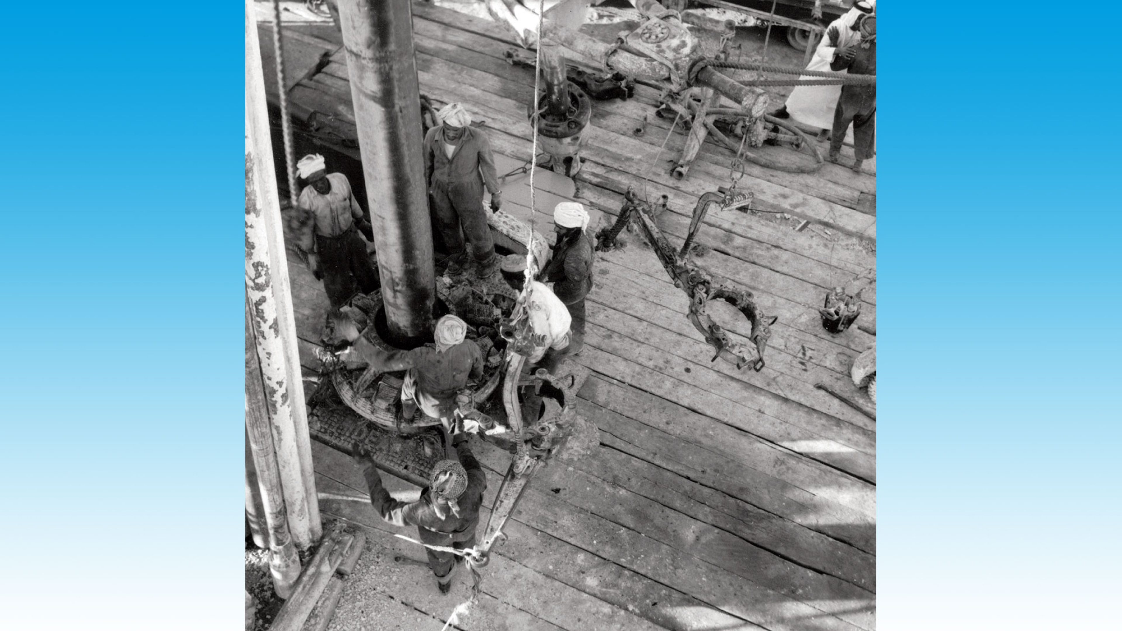 Arab drill operatives working on rig 53 in the Dukhan oil field in Qatar during the early 1950s