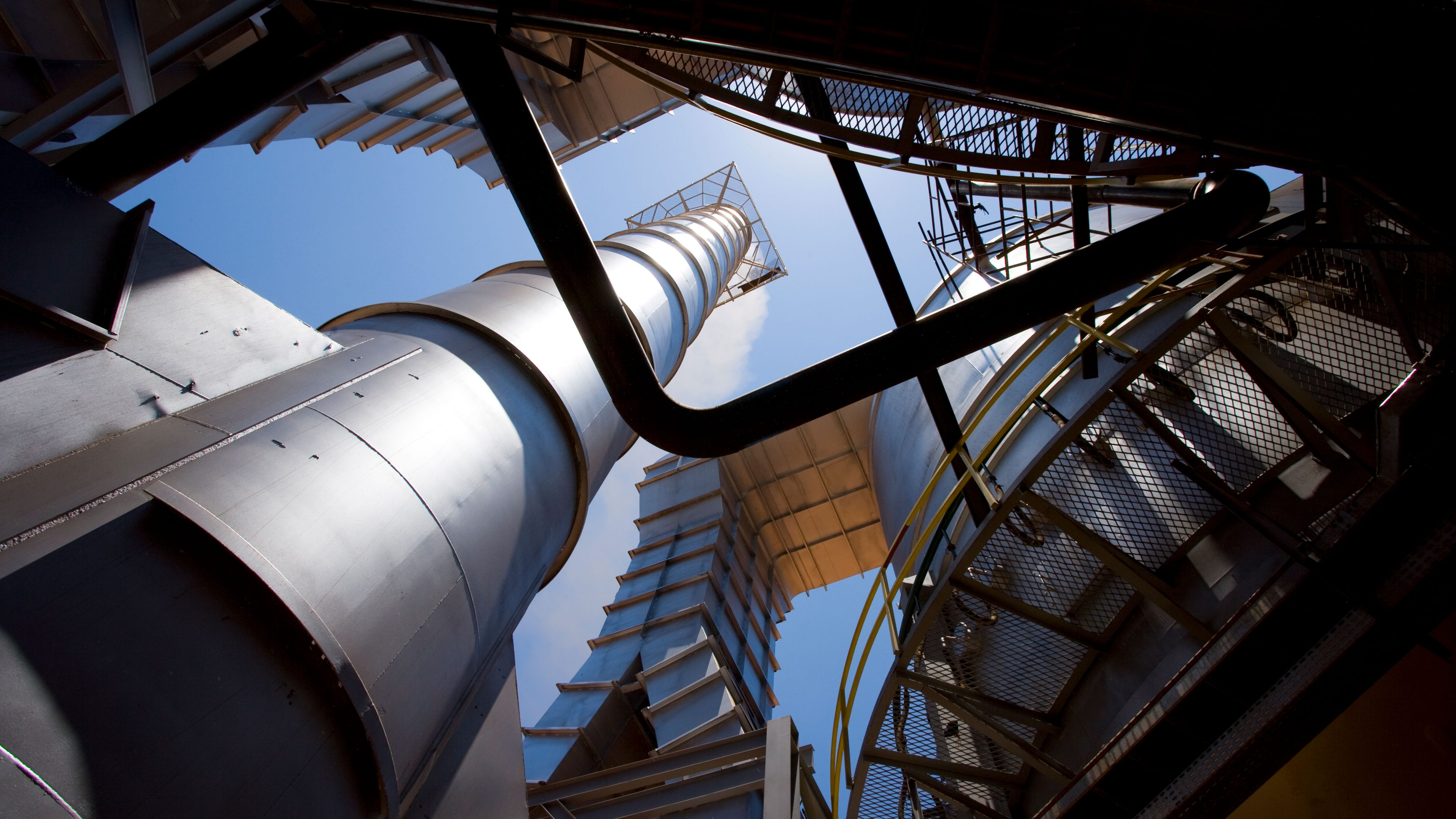 Looking up at the towers at the Tropical BioEnergia refinery in Brazil, 2008