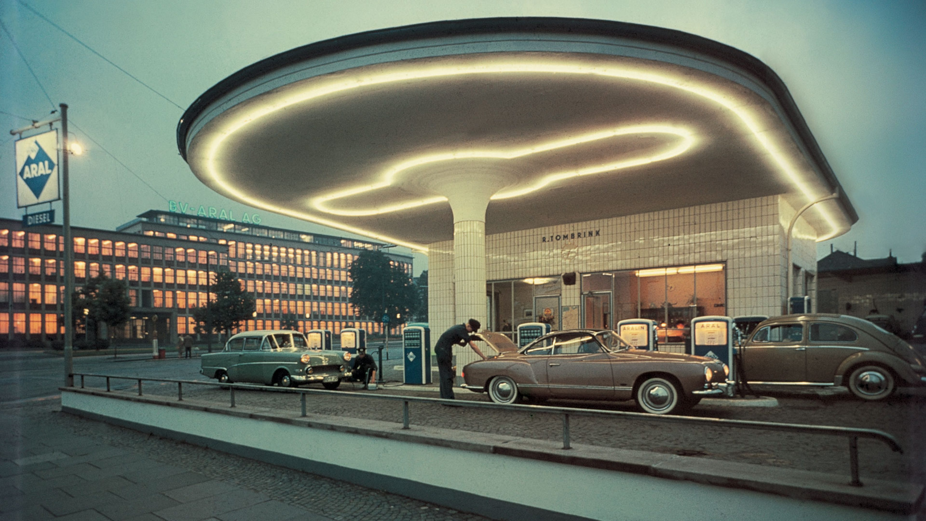 Aral service station outside the Aral headquarters in Bochum, Germany, during the 1960s