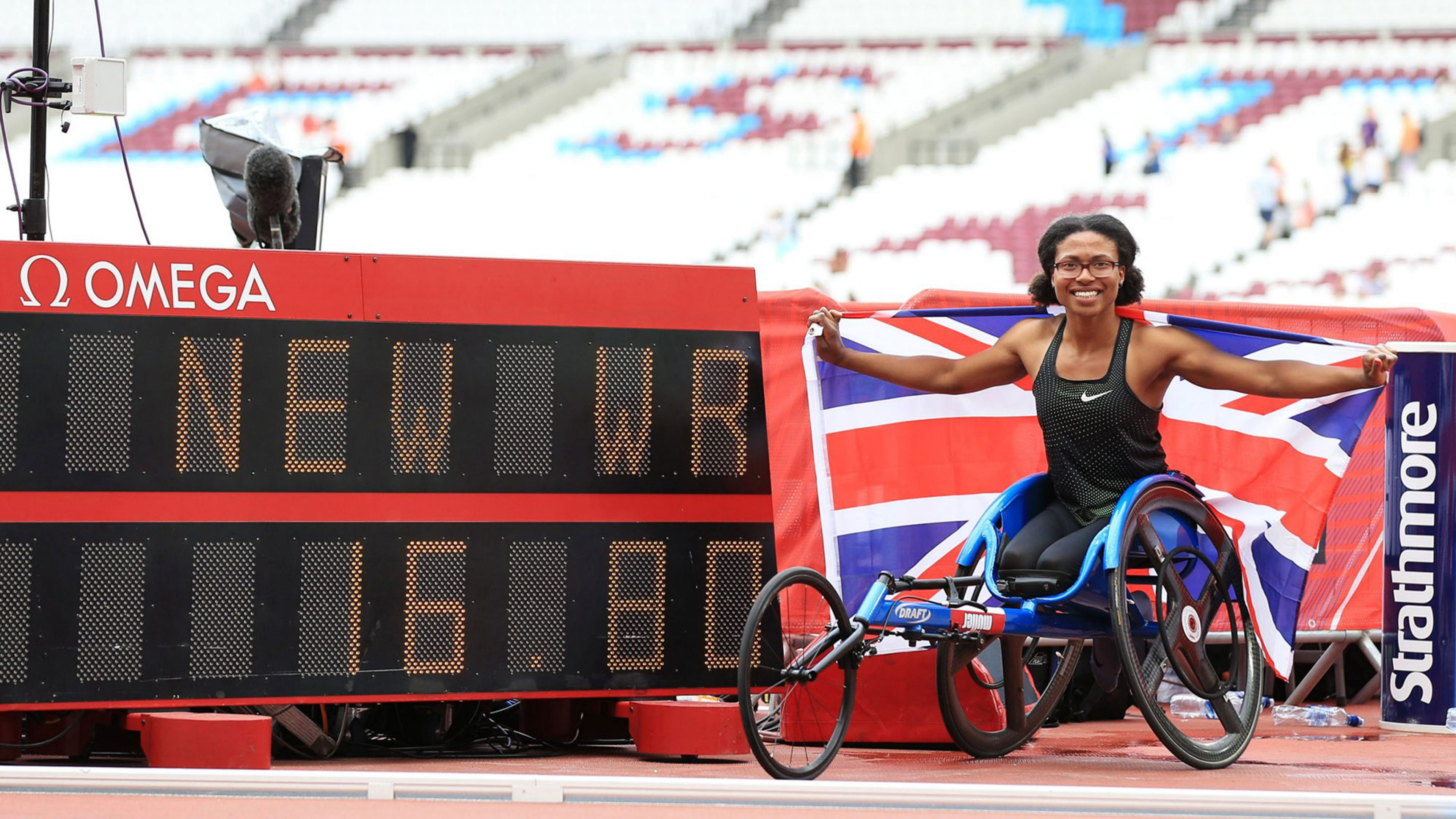 LONDON, ENGLAND - JULY 22:  Kare Adenegan of Great Britain poses for a photo after setting the new World Record following the Women's T34 100m during Day Two of the Muller Anniversary Games at London Stadium on July 22, 2018 in London, England.  (Photo by Stephen Pond - British Athletics/British Athletics via Getty Images)