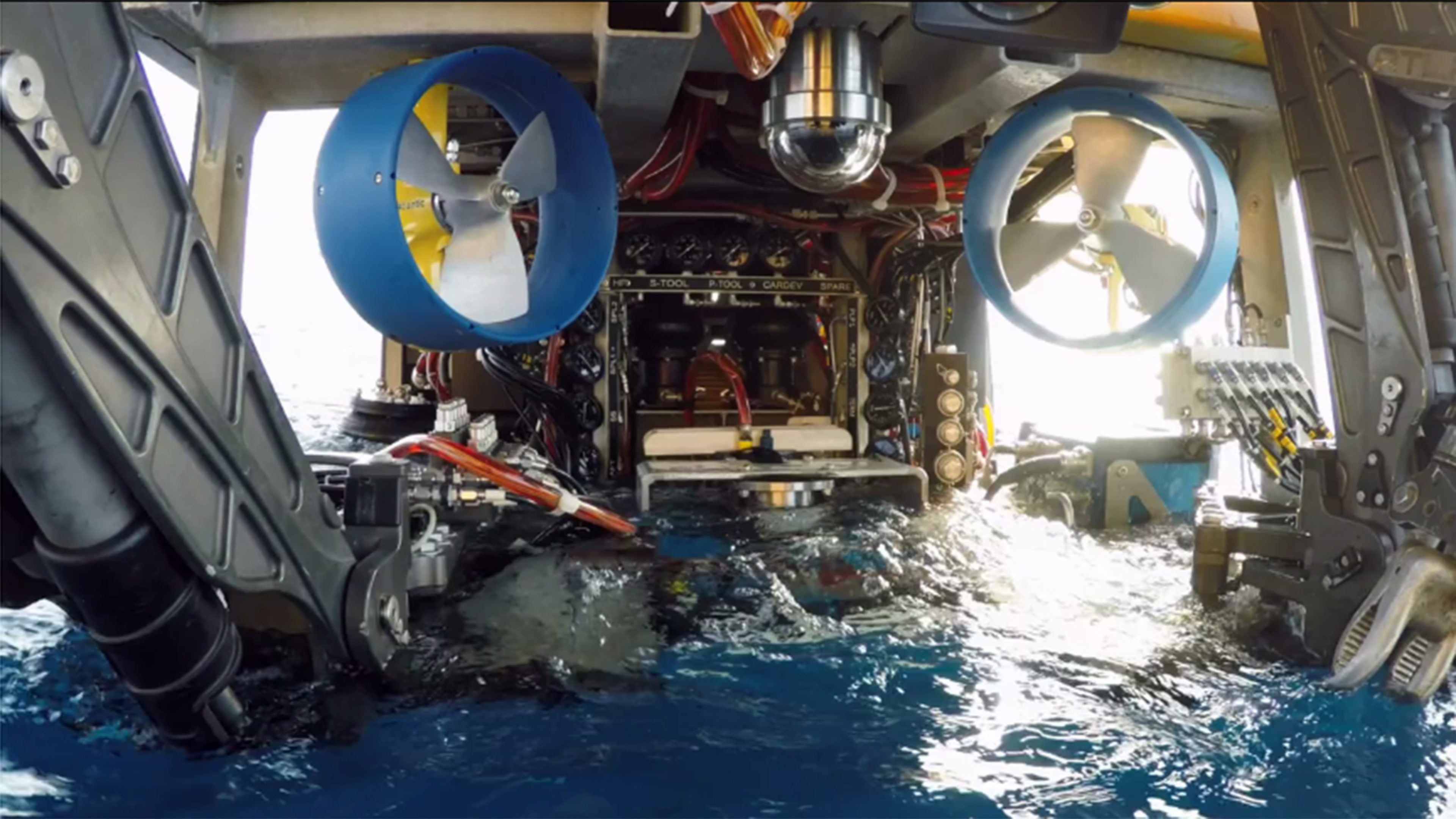 A remote operated vehicle (ROV) is deployed at sea