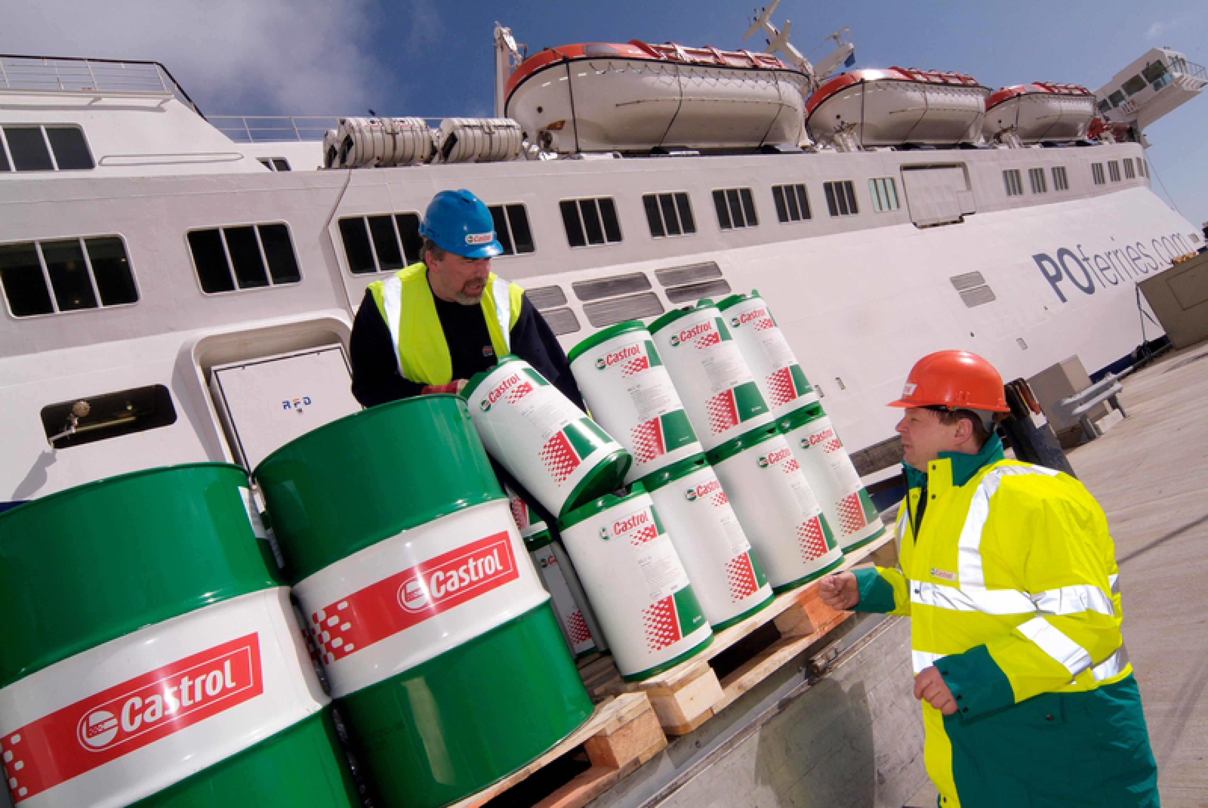 Castrol Marine truck delivers barrels to a P&O ferry in Dover, UK
