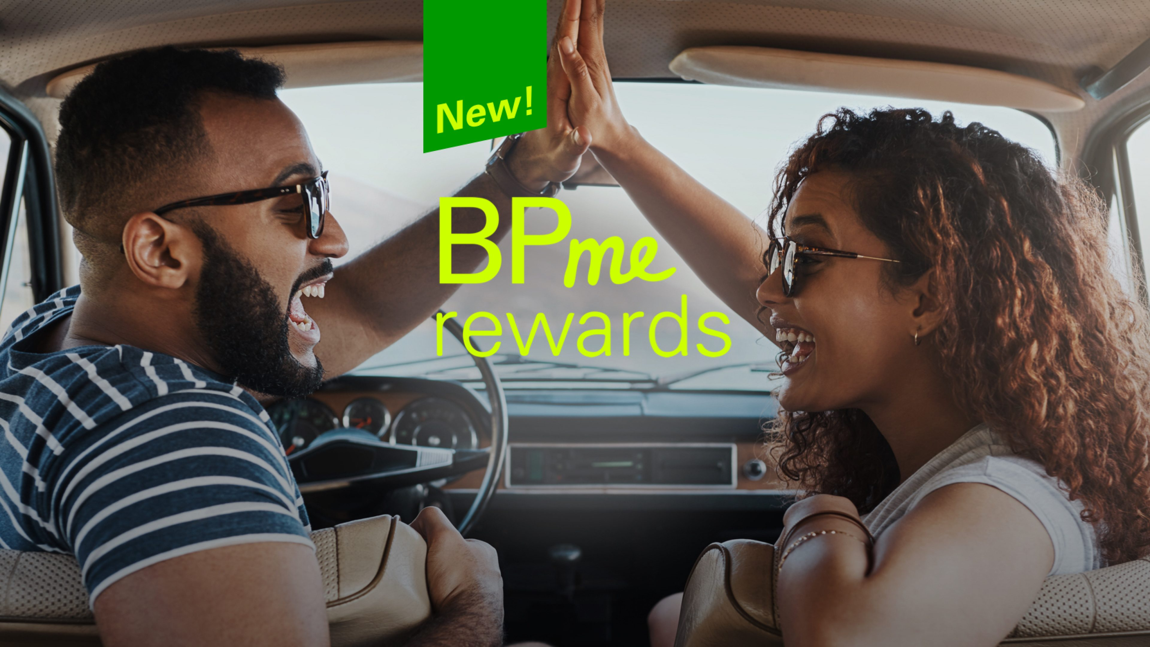 Couple high-fiving in a car about BPme rewards