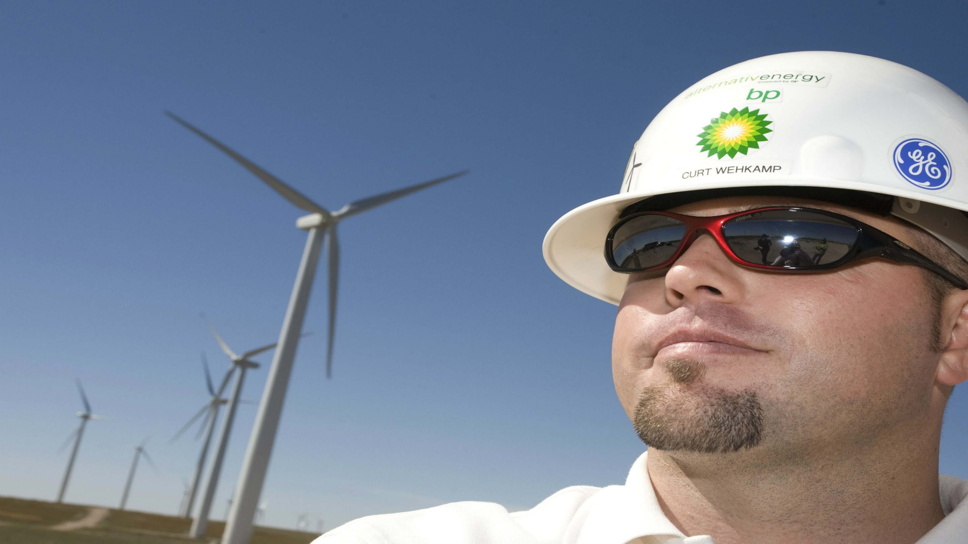 Employee and wind turbines