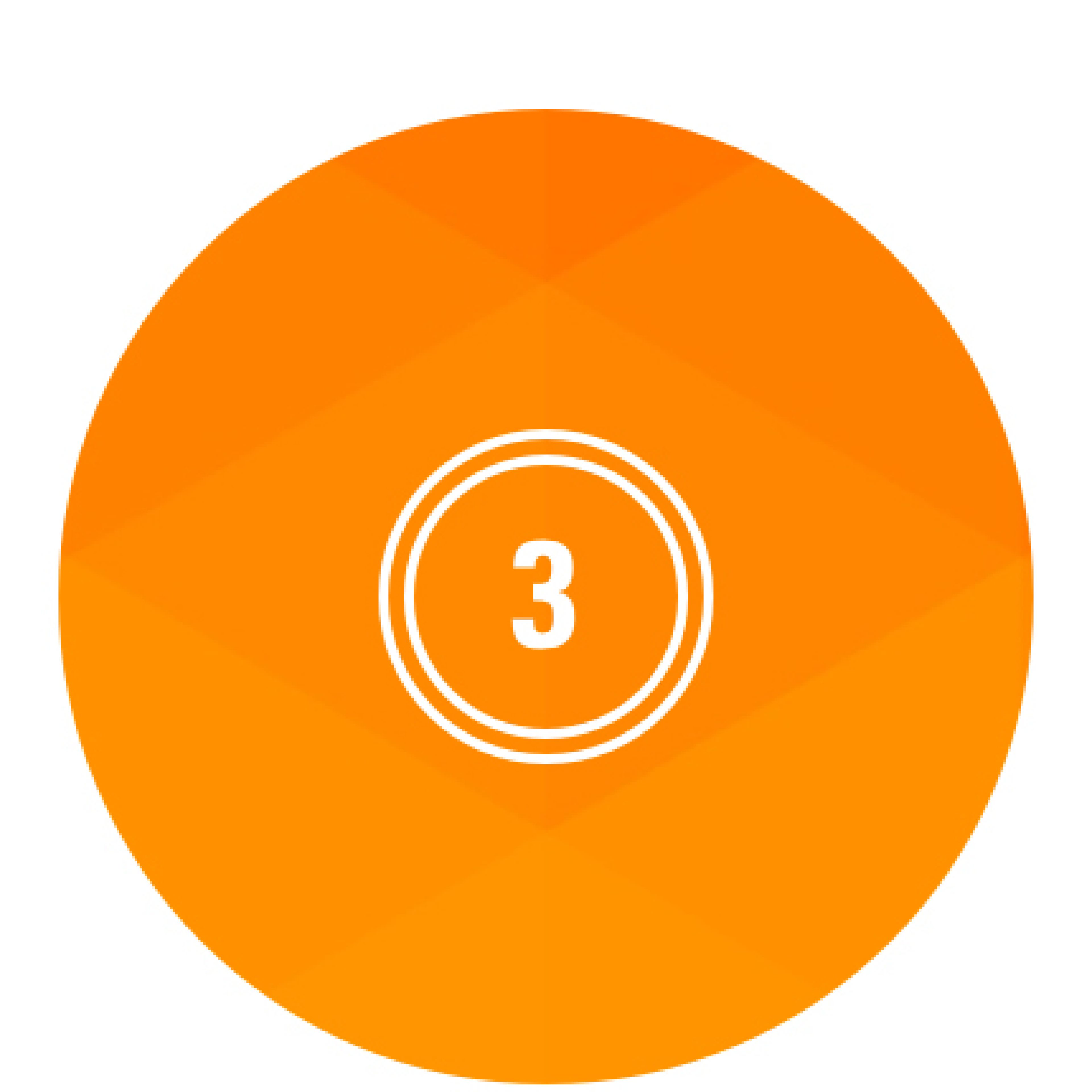 Orange circle with the number 3 in white