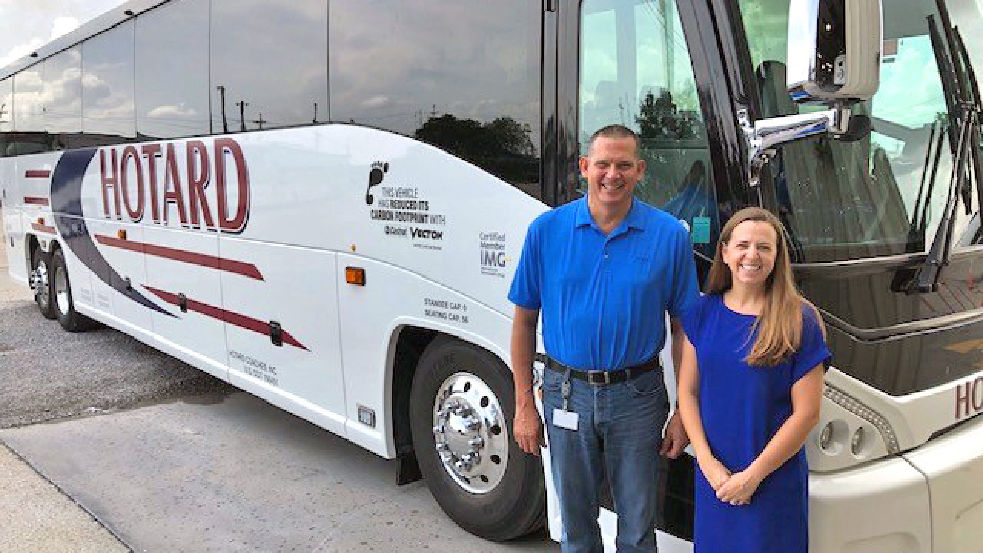 Michael Hoover, Director of Maintenance for Hotard Coaches and Julie Chalmers, General Manager for Hotard Coaches